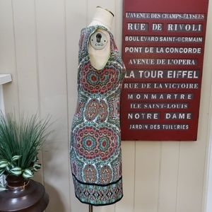London Times Dresses - London Times | 6 multi color print boat neck dress